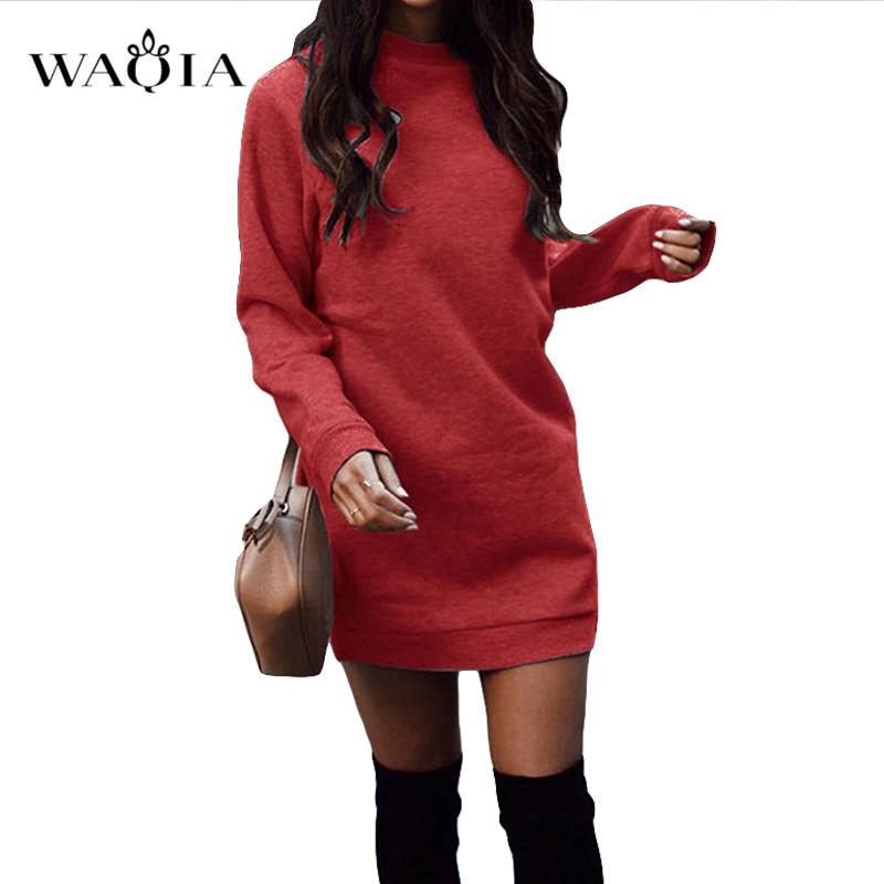 2019 Casual Long Sleeve Dress Winter Elegant Mini Bodycon Autumn Warm Hoodies Sweatshirts Dress Women Round Neck Dresses Short