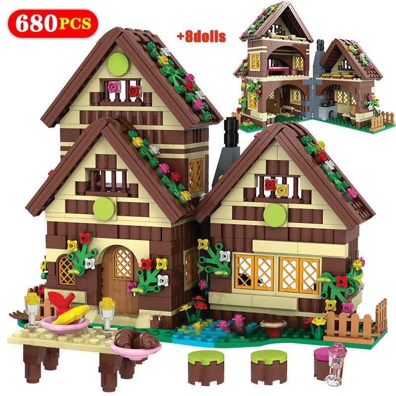 680PCS City Dwarf Huts DIY Building Blocks Friends House Villa Snow White Figure