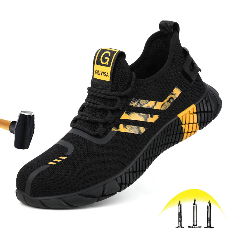 Cheap Men's Work Safety Shoes 2020 Men's Outdoor Steel Toe Smash Resistant Puncture Protection Boots Impenetrable Breathable Sneakers
