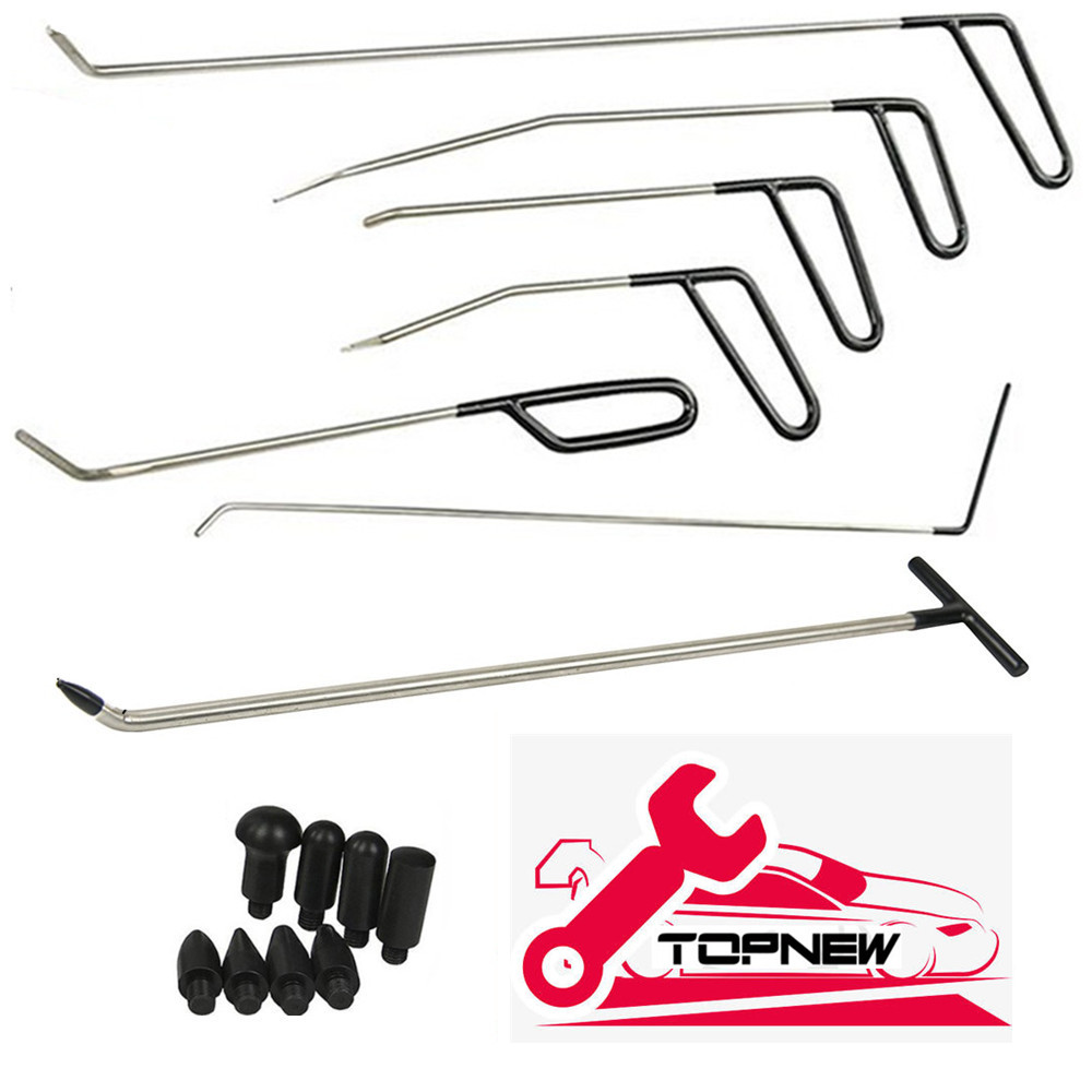 Furuix PDR Dent Removal Rods Tools Dent Repair Kit 6 Pcs Rod Hook C & Tap Down With 1pc R1 Push Hooks