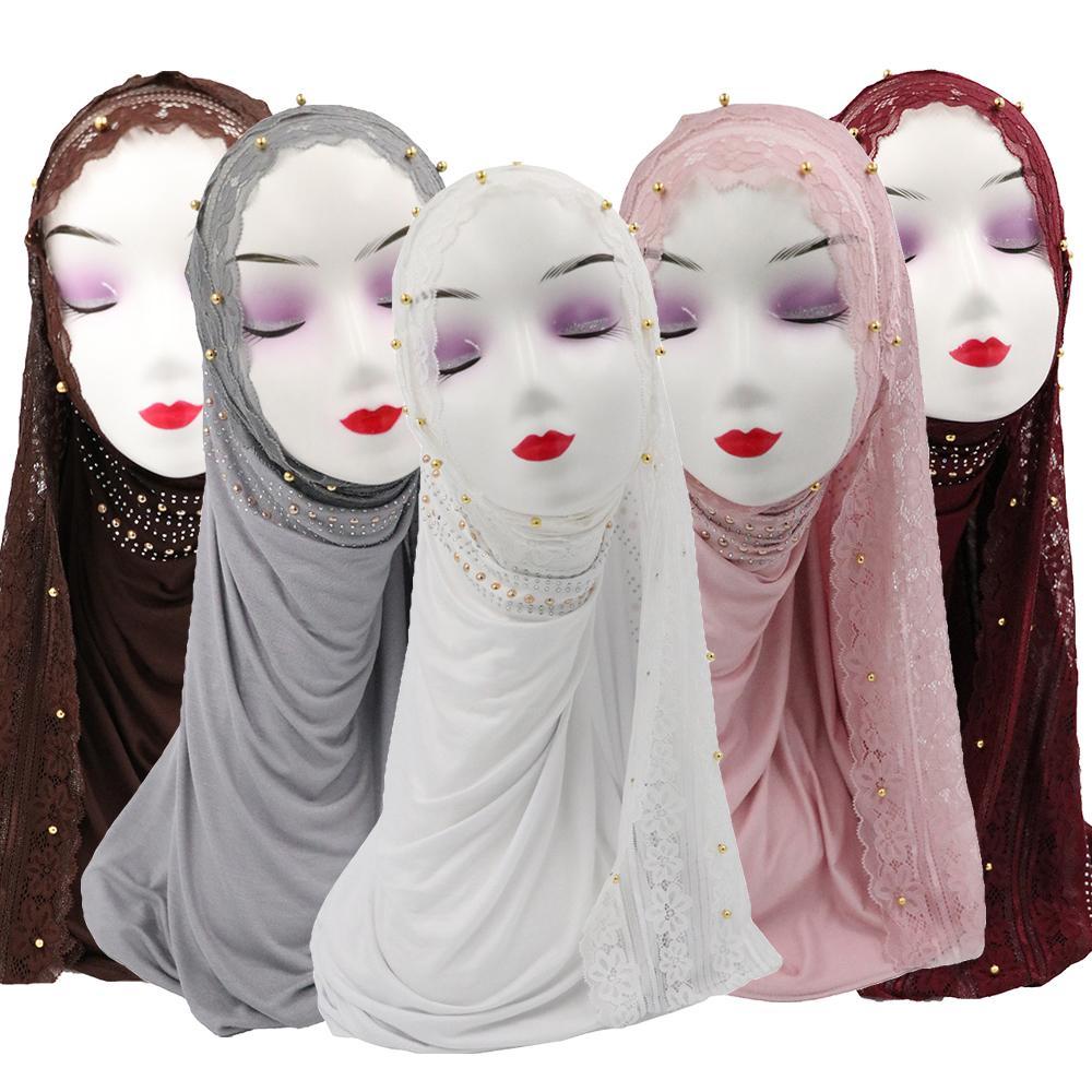 Muslim Women Lace Hijab Scarf Islamic Beads Long Shawl Headscarf Hijabs Head Wrap Arab Middle East Stole Full Cover Prayer Hat