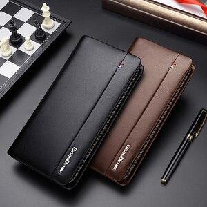 Image 5 - BISON DENIM cartera larga de cuero genuino para hombre, bolso de mano, billetera de piel de vaca, monedero, billetera de negocios N8008
