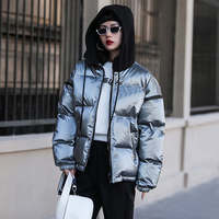 Bright Color Waterproof Short Winter Jacket Women Warm Down Cotton Winter Coat Women Hooded Parkas Snow Wear Women Jacket C5712
