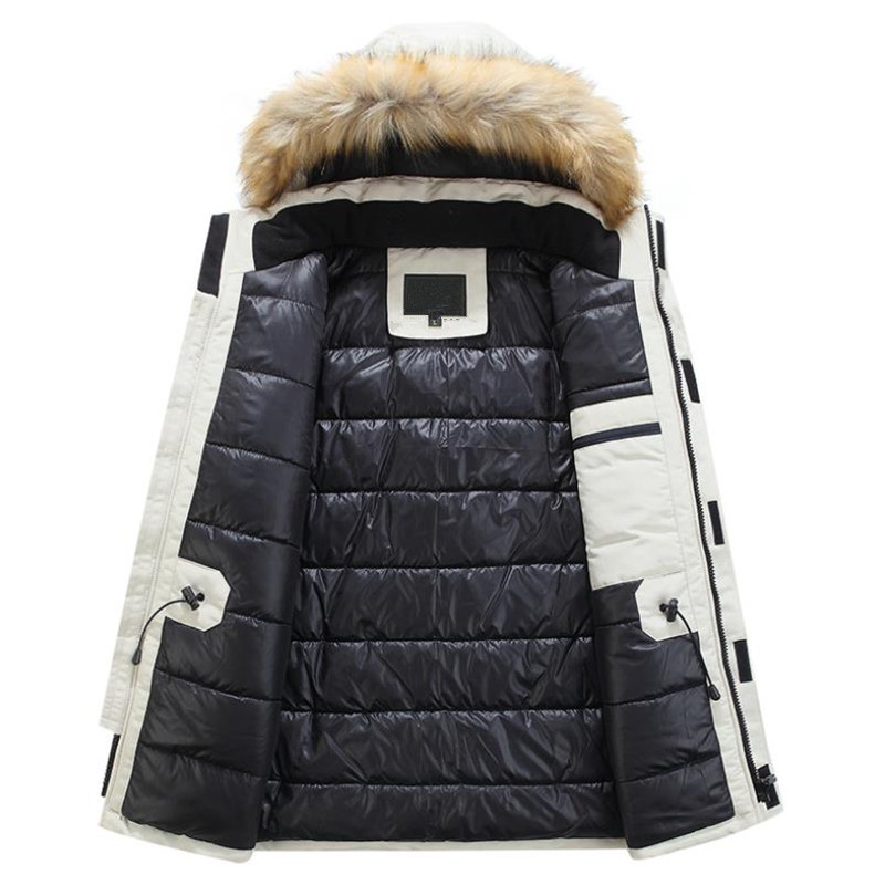 Mens Winter Jacket warm Thick Cotton Multi-pocket Hooded Jacket Male casual Fur Trim Coat men's Down jacket coat Plus size M-6XL 3