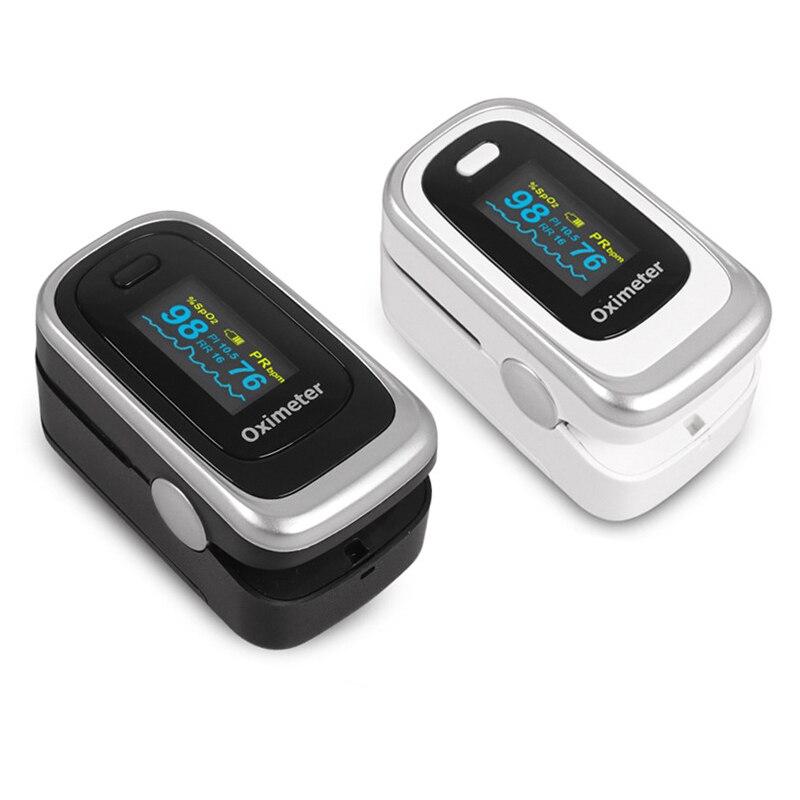 1Piece Black/White Optional Durable OLED Blood Oxygen Oximeter Pulse Finger Oximeter W/ SPO2 PR PI RR Portable
