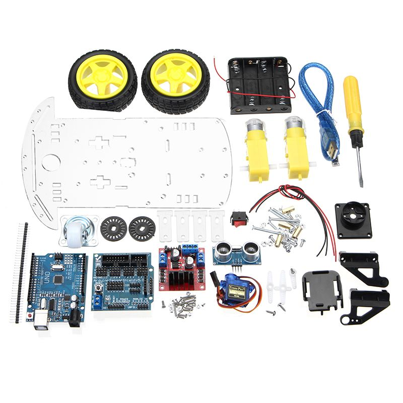 Clearance Sale4-Monitoring Modules Robot L298N 51-Control Battery-Box Units Switch Car-Kit 2WD Ultrasonic