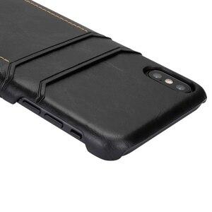 Image 2 - Ретро Натуральная кожа задняя крышка чехол для iPhone XR XS 11Pro Max 7 8 Plus двойной слот для карт чехол для galaxy S8 S9 Note 9 10, MYL 1V3