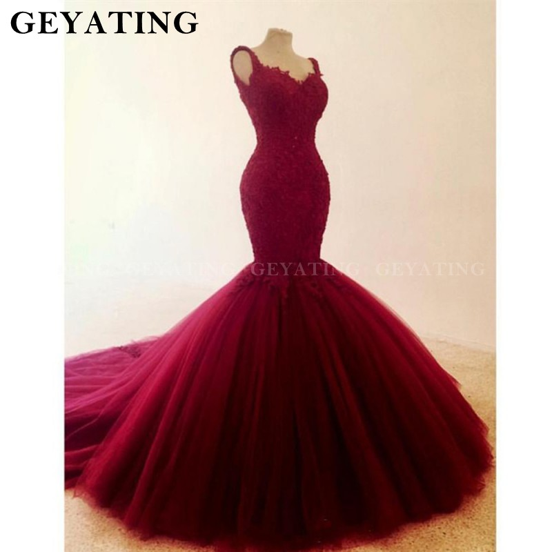 Wine Red Tulle Mermaid <font><b>Wedding</b></font> <font><b>Dress</b></font> 2020 Lace Appliques Beaded Court Train Bridal Gowns <font><b>Sexy</b></font> V Neck Backless <font><b>Wedding</b></font> <font><b>Dresses</b></font> image