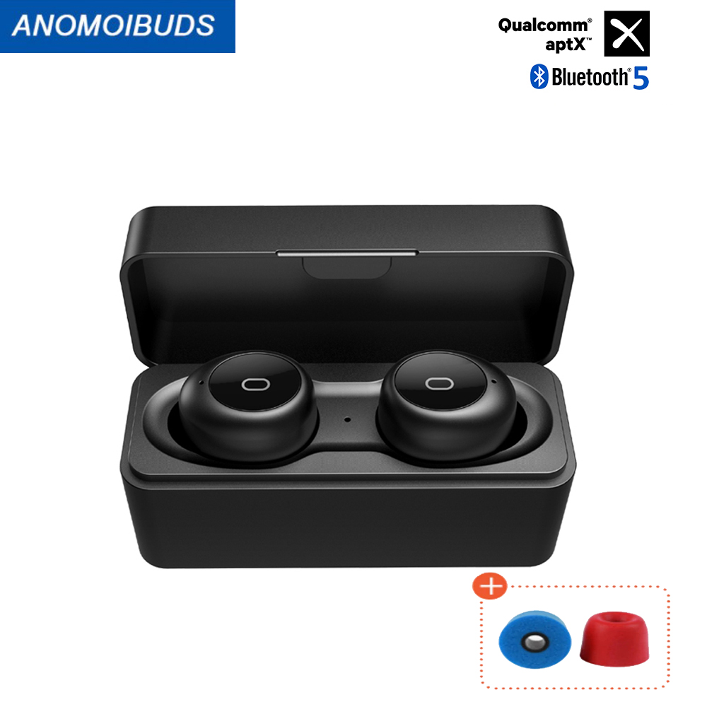 Anomoibuds  Bluetooth 5 0 Earphones Qualcomm-chip aptX Wireless Earbuds Noise Cancellation with DUAL Microphones CVC8 0 aptx tws