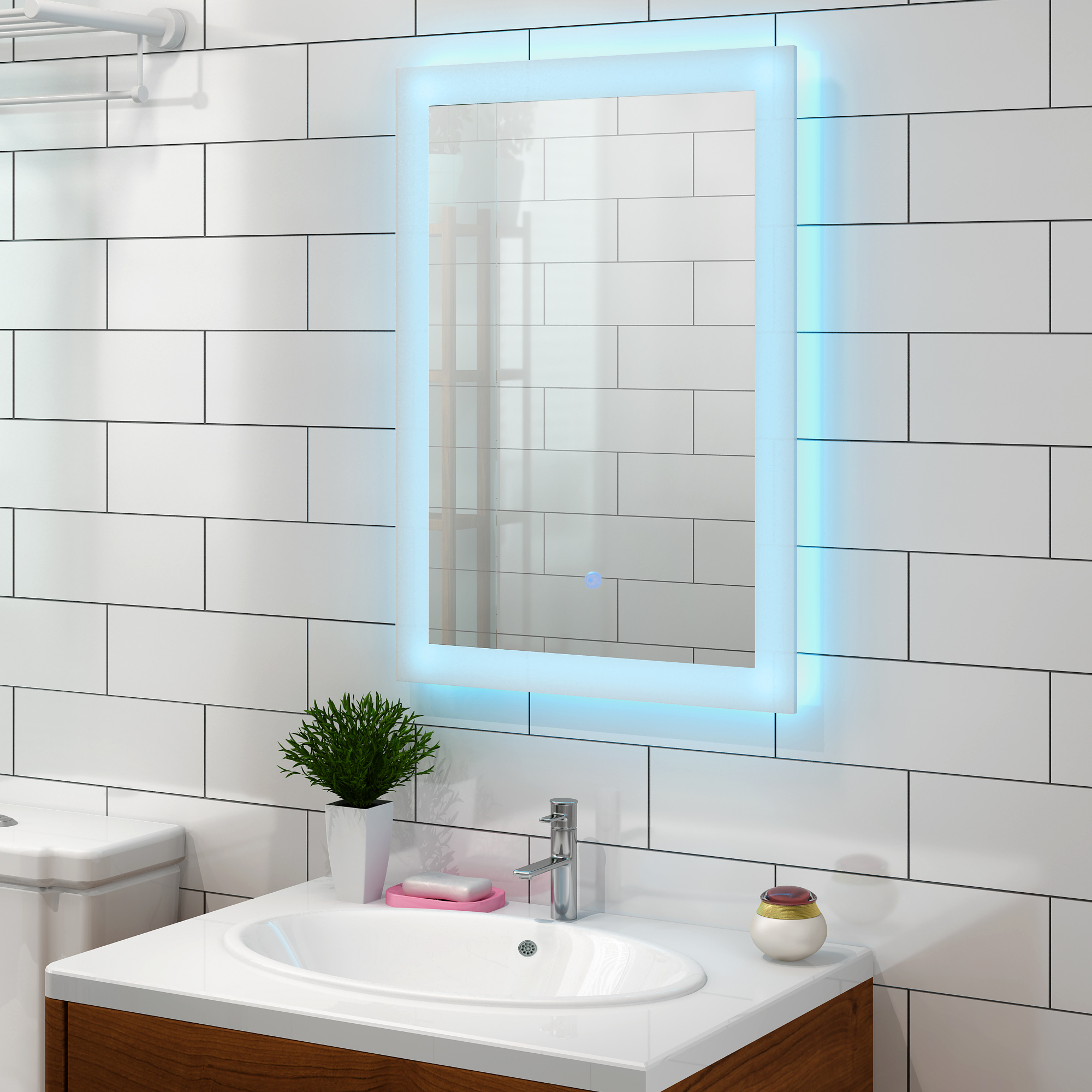 Panana Bathroom Mirror 700 X 500 Mm Designer Illuminated LEDs Bathroom Mirror Light Sensor + Demister Fast Delivery