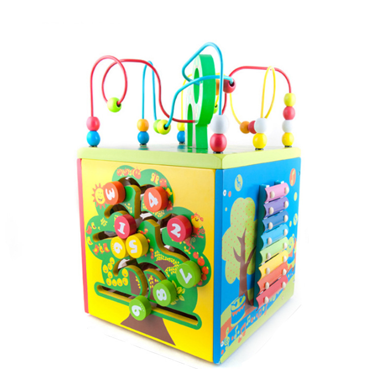 Acooltoy Wooden Children'S Educational Multi-functional Treasure Chest Bead-stringing Toy 6 Kinds Of Play Polyhedron Building Bl