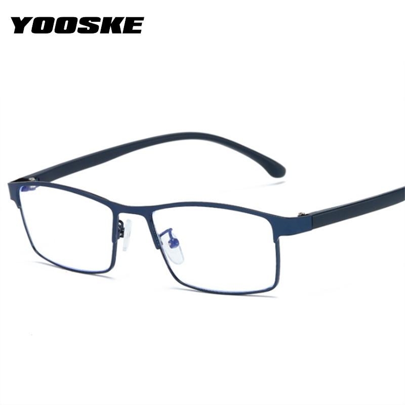 YOOSKE Brand Designer Anti-blue light Glasses Frame Men Business Spectacle Frames Women Trending Fake Glasses Clear lens Eyewear