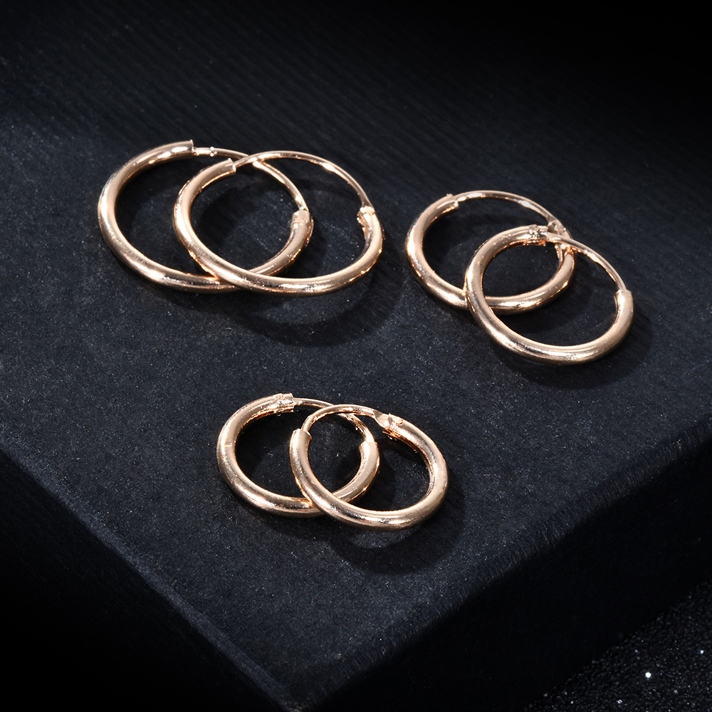 3 Pair/Set Fashion Women Girl Simple Round Circle Small Ear Stud Earring Punk Hip-hop Earrings Jewelry 3 Size(China)