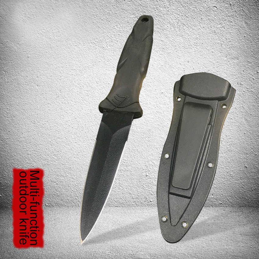 57HRC açık yüksek sertlik 440C hayatta kalma bıçağı siyah düz bıçak çok amaçlı taşınabilir dalış düz bıçak