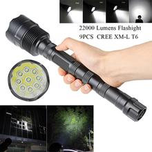 LED Flashlight Torch 22000 Lumen 9x XML T6 5 Mode Super Flashlight Torch Lamp Light By18650 Battery for Outdoor Camping Hiking led flashlight 1200lm 4 x xml t6 led waterproof outdoor 3 mode flashlight torch lamp white light color for hunting camping