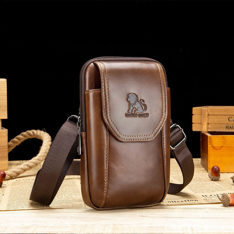 Genuine Leather Men'S Waist Bag Head Layer Cowhide Middle-Aged And Old People Wear Hanging Trousers Belt Bag Can Insert Card
