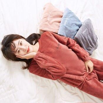 Pajamas Set Homewear Women Pyjama Plus Size Sexy Warm Flannel Pants Winter Sleepwear Femme Plush Clothes - discount item  39% OFF Women's Sleep & Lounge