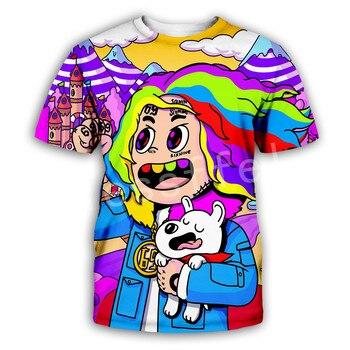 Tessffel HipHop Character Rapper Tekashi69 6ix9ine Tracksuit NewFashion Funny 3DPrint Unisex Summer Shorts sleeves T-shirts s-1 1