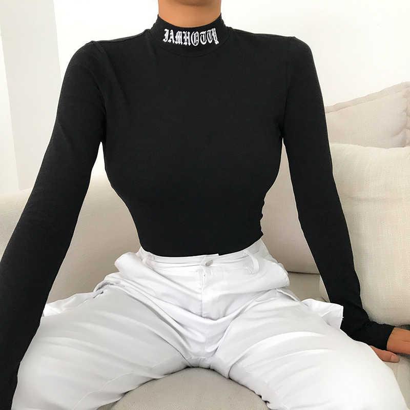 Сексуальное Женское боди Rapwriter черного цвета с открытой спиной и вышитыми буквами, облегающее боди с длинным рукавом для фитнеса, Осень-зима 2019