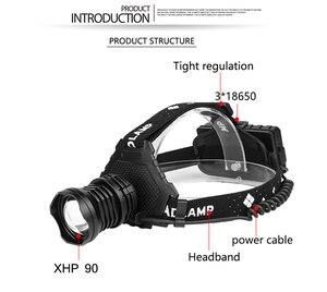Image 3 - Litwod 2064z15 最も強力な XHP90 led ヘッドランプヘッドライト 32 ワットズーム 18650 電源銀行懐中電灯ヘッドランプ