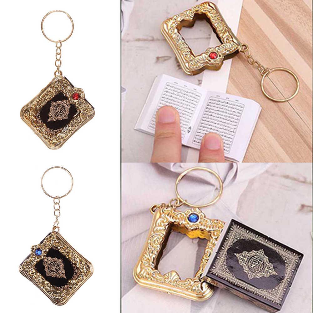 Llavero musulmán islámico Mini colgante, llaveros para libro del Corán del arca del Corán, lata de papel Real, lectura de pequeña joyería religiosa para mujeres