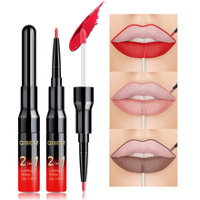 QIBEST 20 Color Liquid Lipstick Sexy Red Lip Gloss Long-lasting Waterproof Nude Matte Lipliner Pencil Double-end Makeup Tint