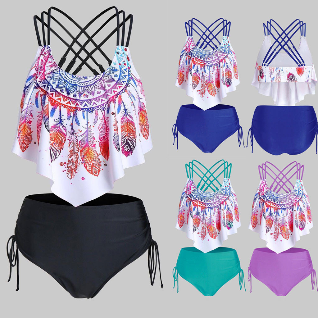 2020 Women Feather Print Push-Up Padded  Overlay  Flounce Crisscross Tankini Swimwear SLRBS