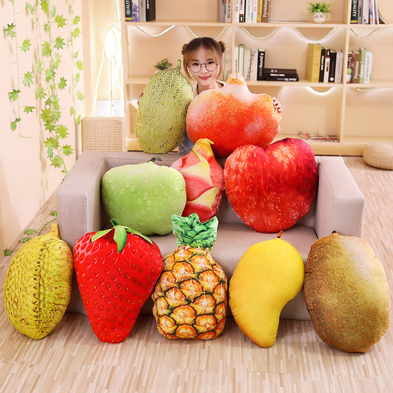 Novelty Food Plush Toy Stuffed Throw Pillow Home Sofa Cushion 3D Fruit Y4X2