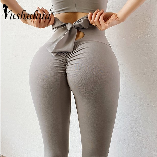 Bowknot lift hip Sports pants High Waist Yoga Leggings Scrunch Butt Workout Sports Women Fitness Leggings Gym Running Tights 1