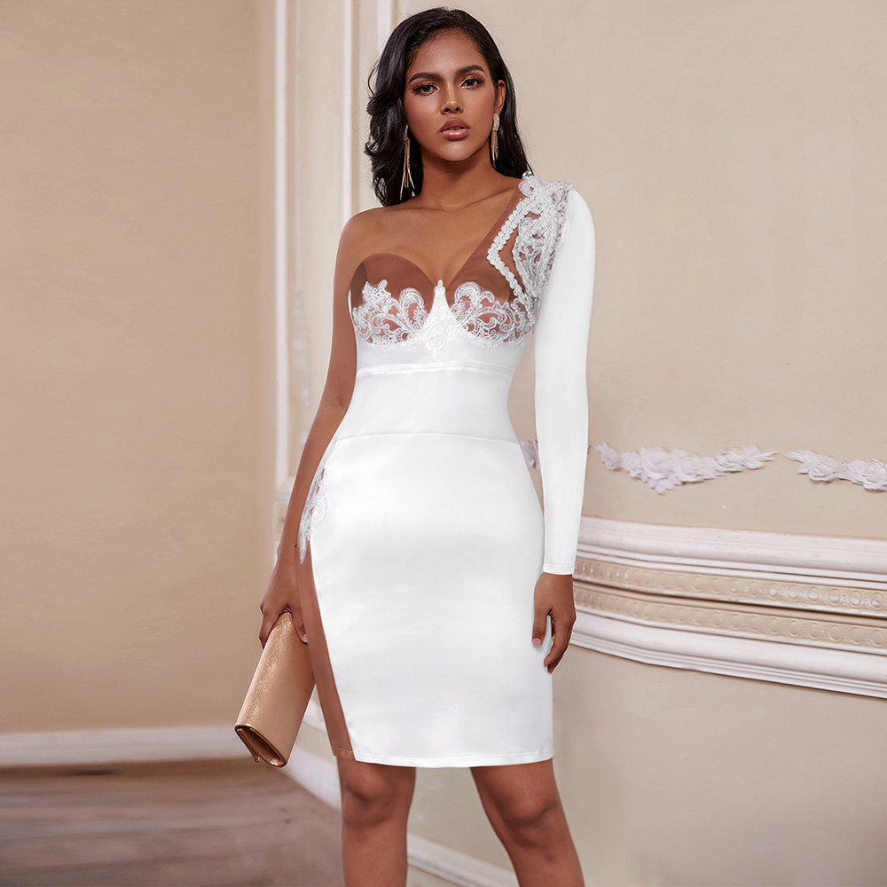 Ocstrade Lace Embroidered White Bodycon Dress 2020 Sexy One Shoulder Mini Bodycon Dress Bodycon Celebrity Evening Party Dress