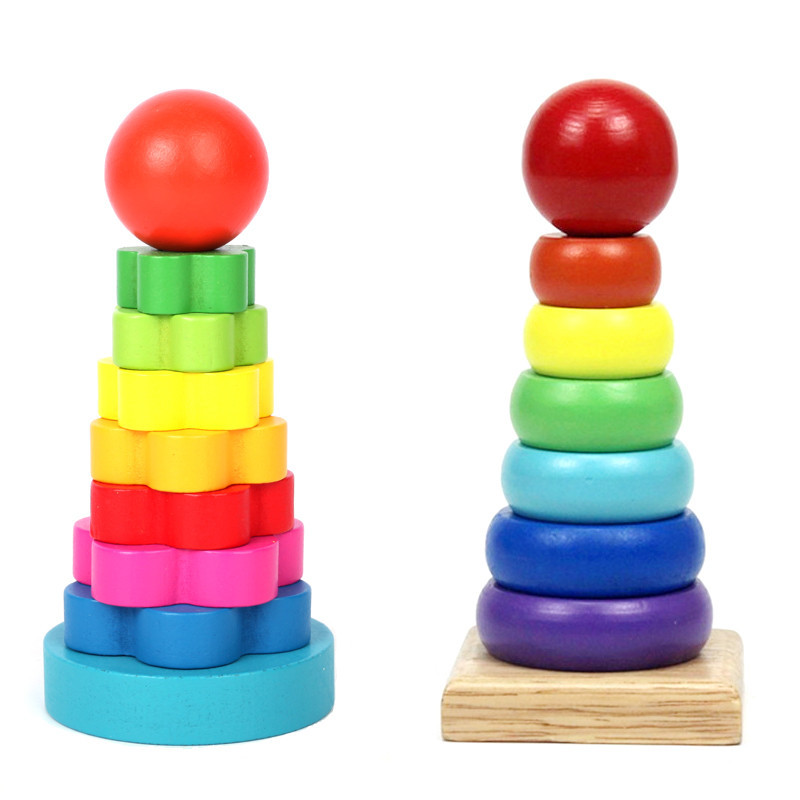 Rainbow Tower Layer Stacking Ring Colorful Baby Wood Stacked Toys Learning Stapelring Building Blocks Wooded Infant Kids Toy