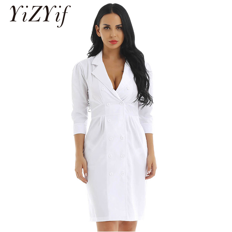 Women Doctor Nursing Scrubs Nurse Uniforms Cosplay Costume Lapel Collar 3/4 Sleeve Scrubs Lab Medical Nurse Doctor Uniform Dress