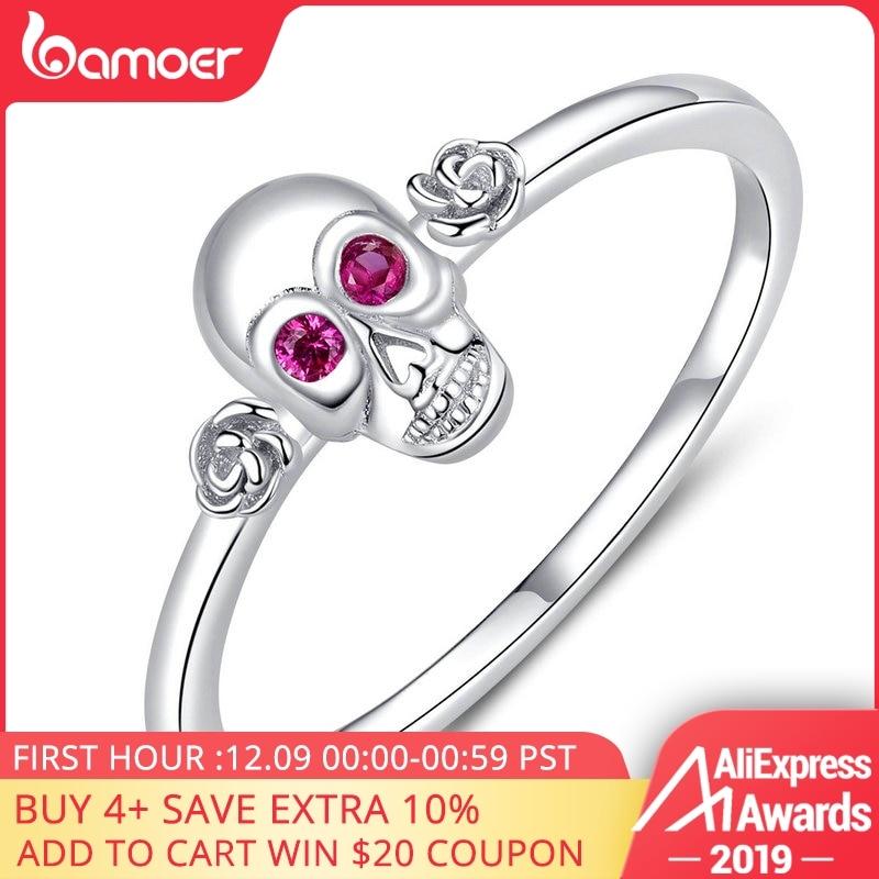 Bamoer Silver 925 Skull Finger Rings For Wmen Hallowen Sterling Silver 925 Gifts For Girl Band Bague Accessories SCR617