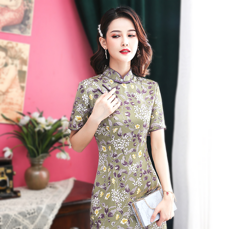 Sheng Coco Double Layer Cheongsam Chinese Retro Style Purple Flowers Pearl Pankou Stand Collar Dress Vintage 2020 Women Clothing