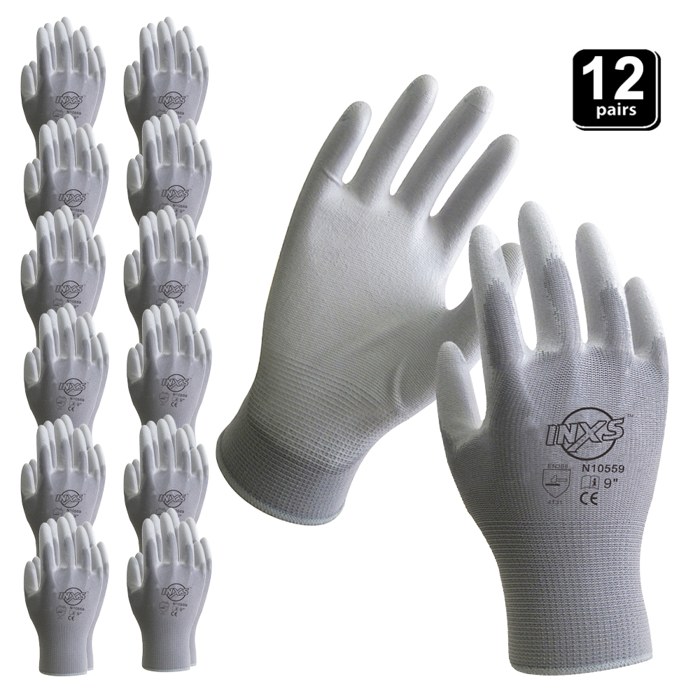 INXS New 12 Pairs Polyester Nylon PU Coating Safety Work Gloves For Builders  Fishing Garden Work Non-slip Gloves High Quality