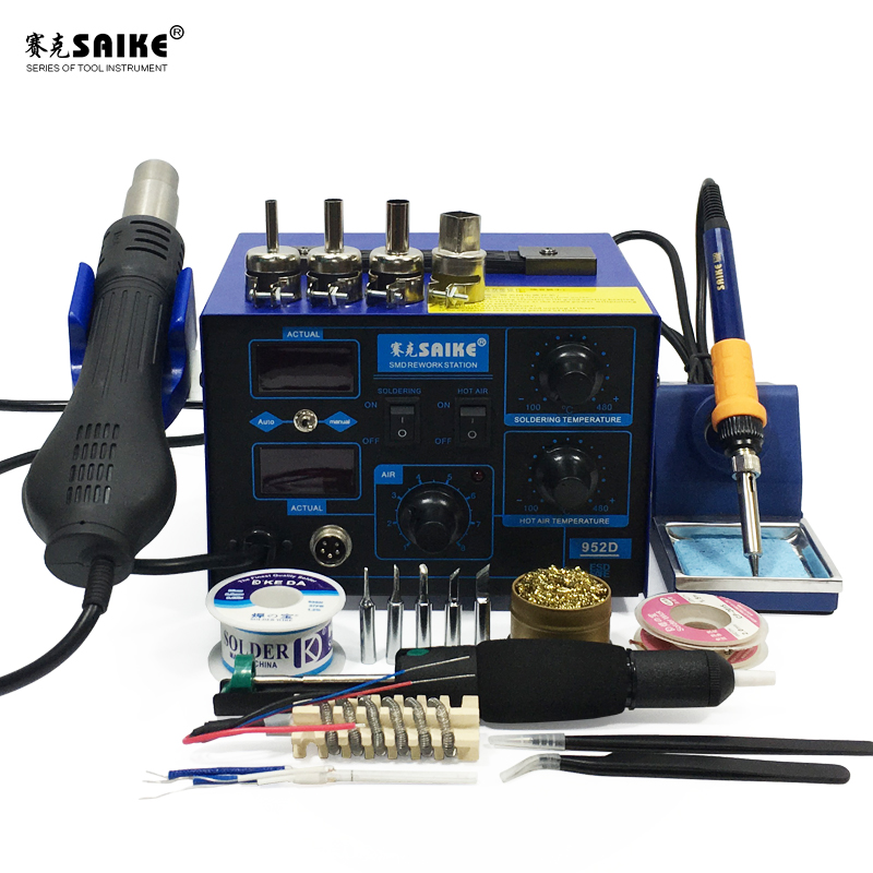 SAIKE 952D 2 In 1 SMD Rework Soldering Station Hot Air Gun Solder Iron Desoldering Digital Display Nozzle Air Gun Handle
