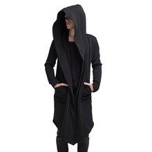 WENYUJH 2019 Men New Hooded Solid Trench Coat Long Sleeve Hoody Outwear Streetwear Autumn Jacket Cardigan Plus Size 5XL