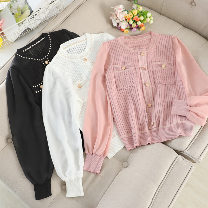 Temperament Hollow Knitted Pullover Tops Women's Chiffon Sleeve Stitching Lantern Sleeve Gold Button DecoThin Sweater Tops Tees