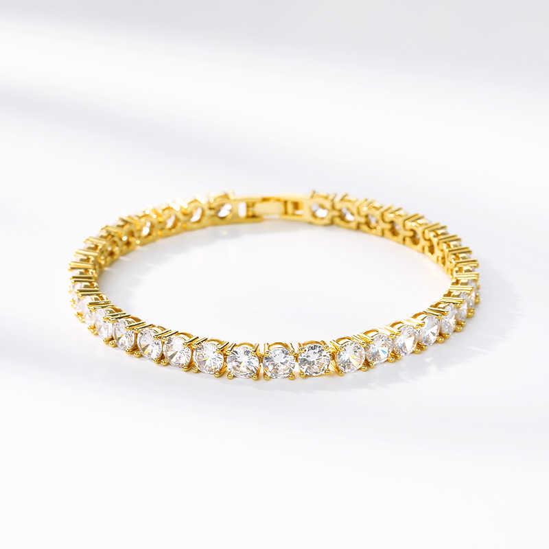 Luksusowe Iced Out bransoletka złoty kolor cyrkonia tenis kryształowe bransoletki dla kobiet mężczyzn Hip Hop biżuteria prezent na ślub/urodziny