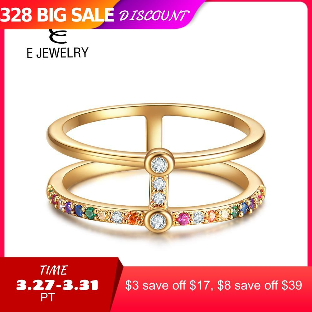 E Jewelry 925 Sterling Silver Exquisite Double Layers Zircon Sparkling Ring For Woman Fashion Jewelry Gift
