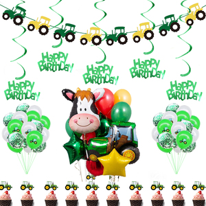 1 Set Farm Tractor Party Happy Birthday Banner Excavator Vehicle Green Theme Balloons Cake Topper Party Decoration