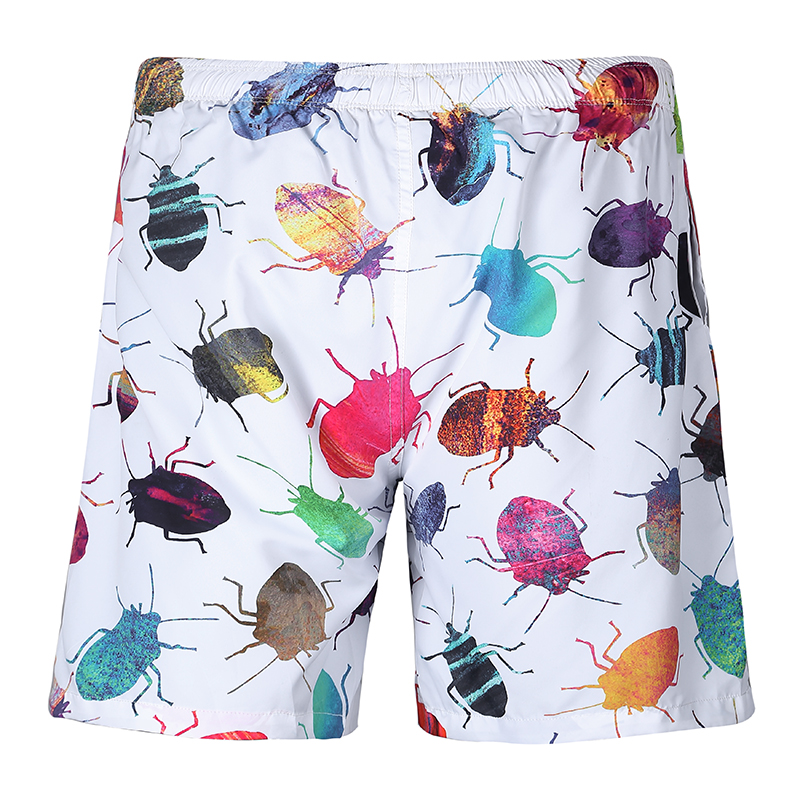 Quick Dry Summer Men Boardshorts Pretty 3D Full Printing Colorful Beetles Double-decker Couples Thin Beach Shorts