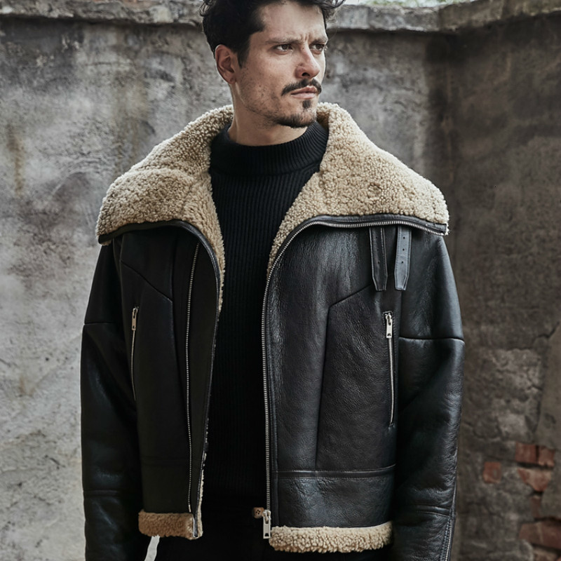Winter Jacket Men Fur Coat Real Sheep Shearling Fur Coat Korean Vintage Real Leather Jacket Men Jaqueta Couro 826 YY478