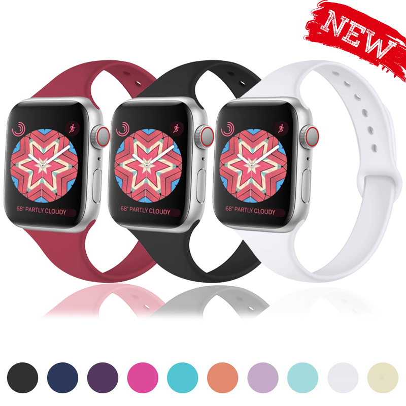 Strap for Apple watch band 38mm 40mm 42mm 44mm iWatch pulseira 5/4/3/2/1 Slimming silicone correa apple watch Accessories