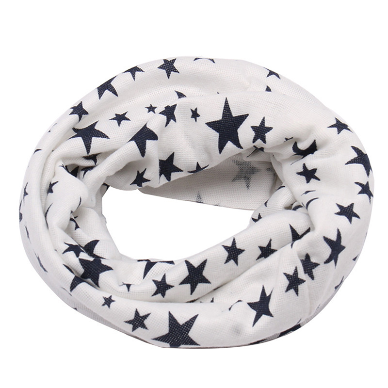 2019 Autumn Winter Long Warm Star Print Children Scarf Snood Outdoor Neck Warmer O Ring Scarf For Kids Baby Cotton Ring Scarf