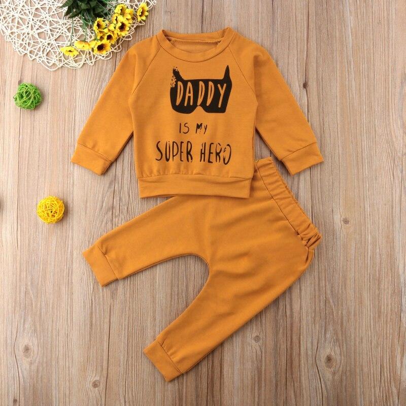 0-3T Newborn Kids Baby Boys Girl Clothing Daddy Batman Superhero Outfit Set Flower Top And Pants Infant Clothes Set Roupa Menina