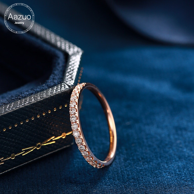 Aazuo 100% 18K or blanc Rose or véritable diamant Mirco pavé unique ligne anneau pour femme charme bijoux mode cadeau minuscule mince