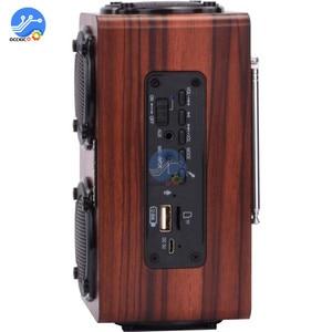 Image 4 - Portable Wooden Wireless Bluetooth Speaker Retro Stereo Subwoofer HiFi FM Radio USB TF AUX for Outdoor Home Desktop Speaker