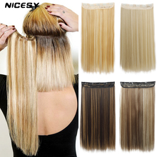 Hairpiece NICESY Synthetic-Hair-Extensions 5clip-In Long High-Temperature Straight Women