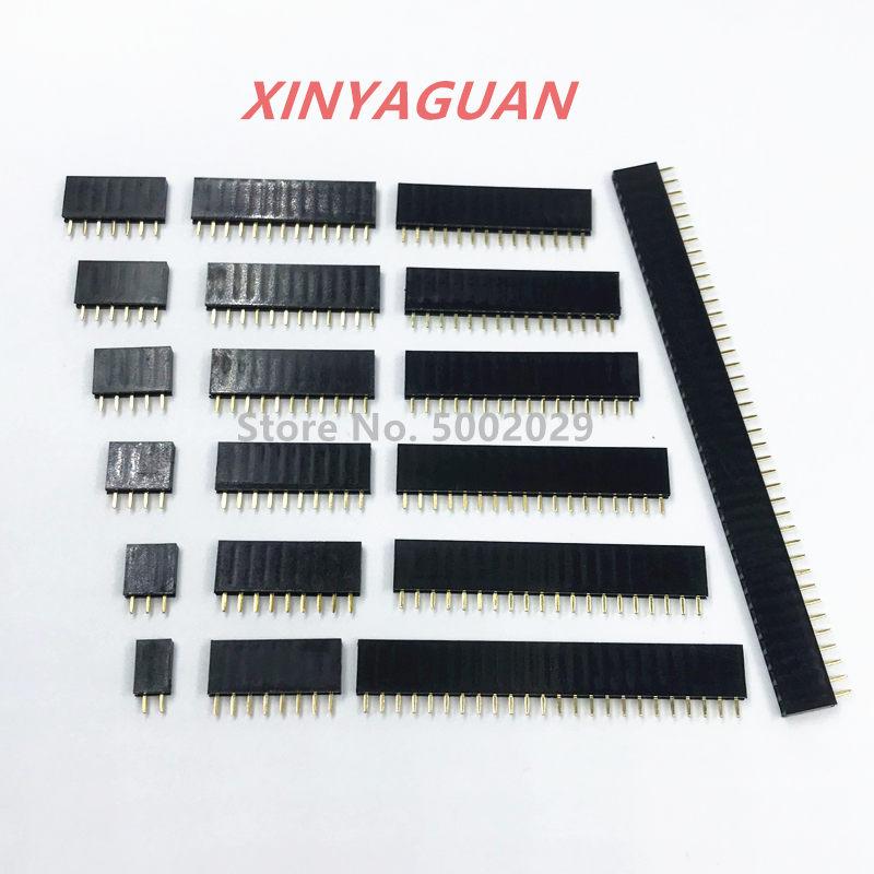 Zócalo hembra de una fila de 2,54mm, 2 ~ 40P, PCB, Conector de pines, 2/3/4/6/10/12/16/20/40 pines para Arduino